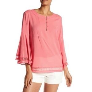 TRINA TURK   Coral Bell Sleeves Blouse   L